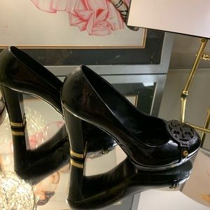 Tory Burch black and gold heels